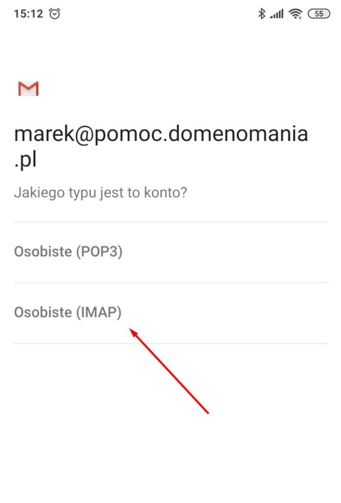 Wybierz typ konta: IMAP w aplikacji pocztowej GMAIL na Androida
