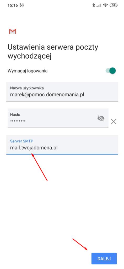 Wpisz adres serwera poczty wychodzącej w aplikacji Gmail na Android
