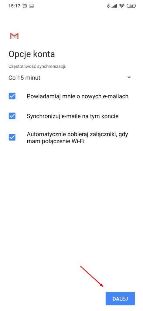 Ustaw opcje konta podczas konfiguracji poczty w Gmail na Android