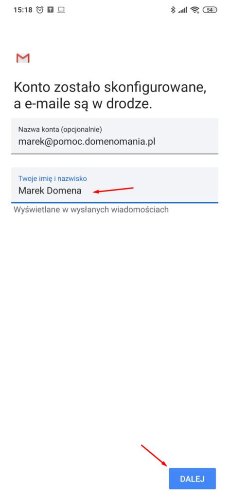 GMAIL - Android - Konto zostało skonfigurowane