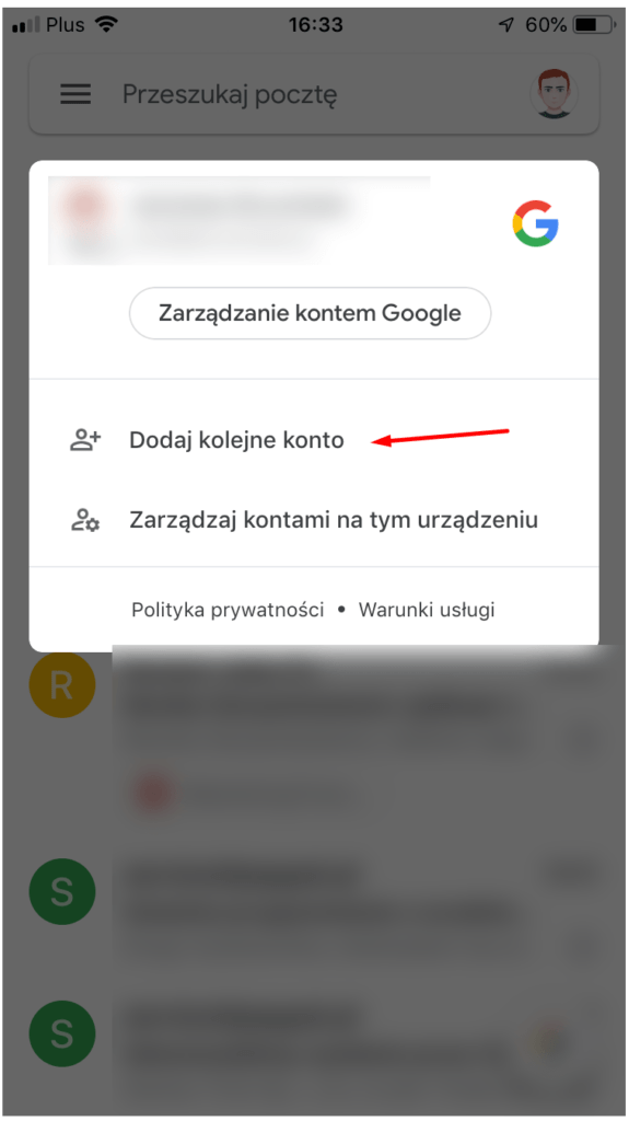 Aplikacja pocztowa Gmail - ikona profilu - Dodaj kolejne konto
