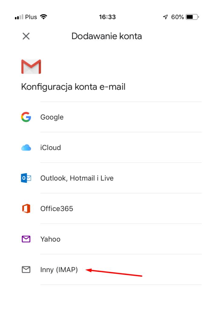 Aplikacja pocztowa Gmail - Dodawanie konta - wybierz typ Inny