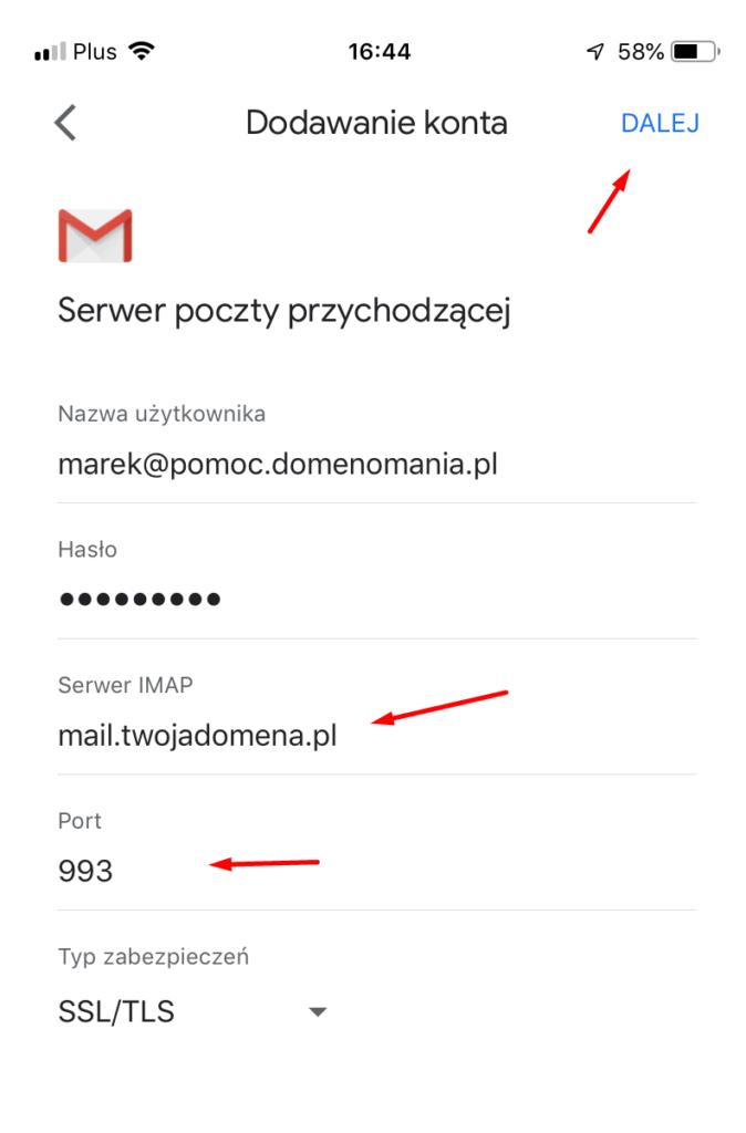 Wpisz adres serwera IMAP - poczta przychodząca