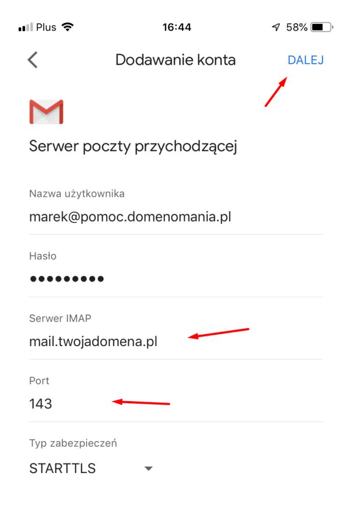 Adres serwera poczty przychodzącej IMAP z portem 143