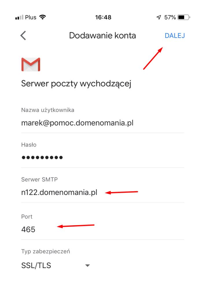 Wpisz adres serwera poczty wychodzącej w Gmail na iPhone i kliknij Dalej