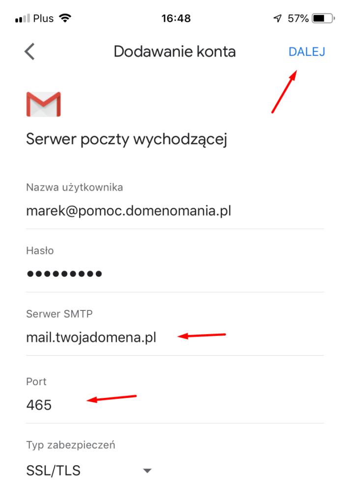 Konfiguracja serwera poczty wychodzącej SMTP z włączonym SSL
