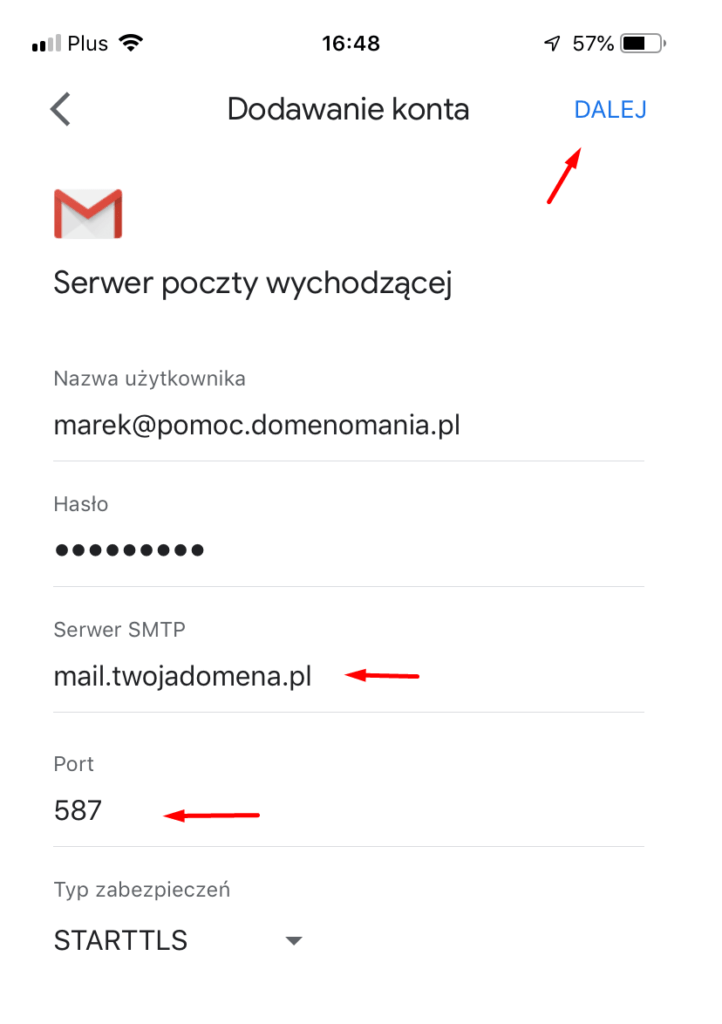 Konfiguracja serwera poczty wychodzącej w GMAIL na iPhone bez certyfikatu SSL