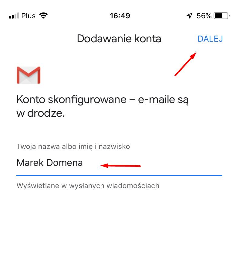 Konfiguracja poczty w Gmail na iPhone - wpisz Twoja nazwę albo imię i nawisko