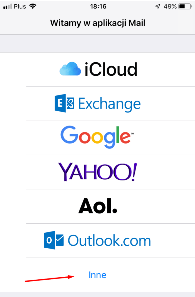 W aplikacji Mail wybierz opcję: Inne