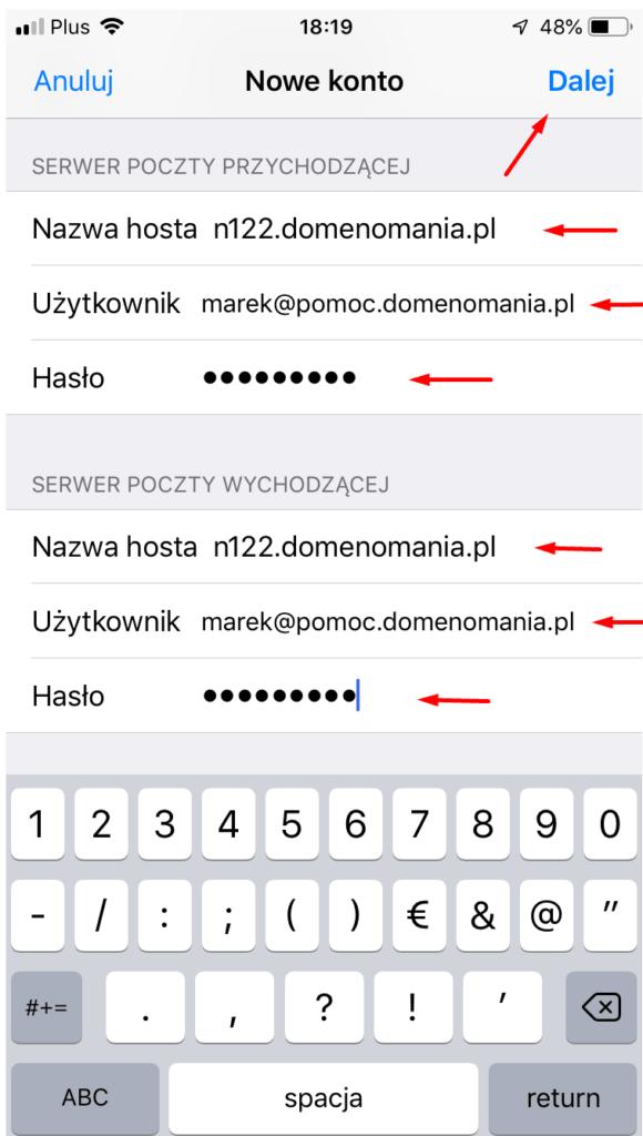 Po wpisaniu danych serwera pocztowego, kliknij przycisk: Dalej.