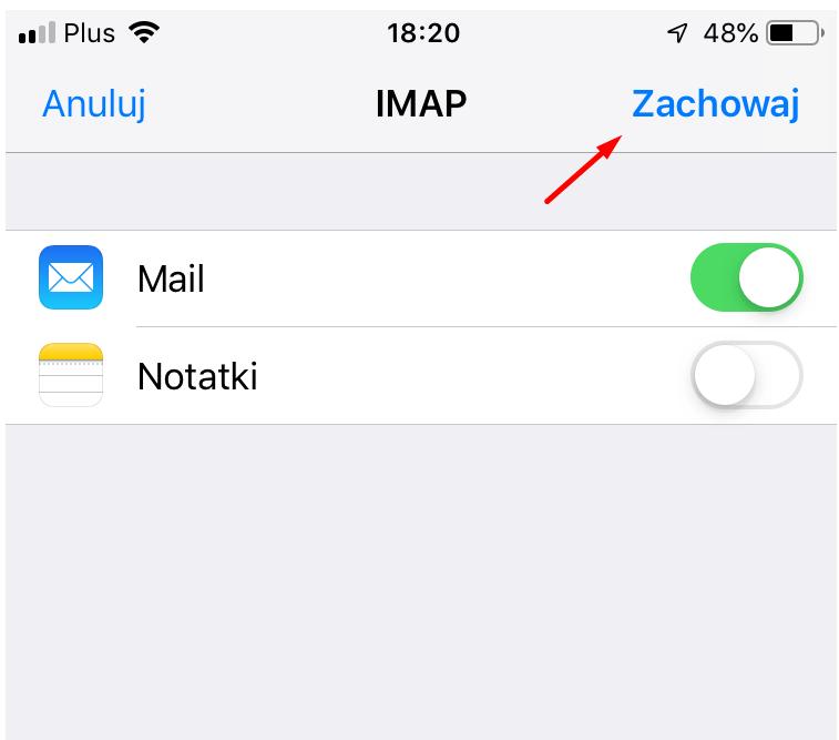 Kliknij: Zachowaj, aby zapisać konfiguracje konta pocztowego w Mail na iPhone