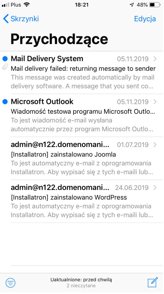 Konto pocztowe zostało skonfigurowane w aplikacji Mail dla iPhone