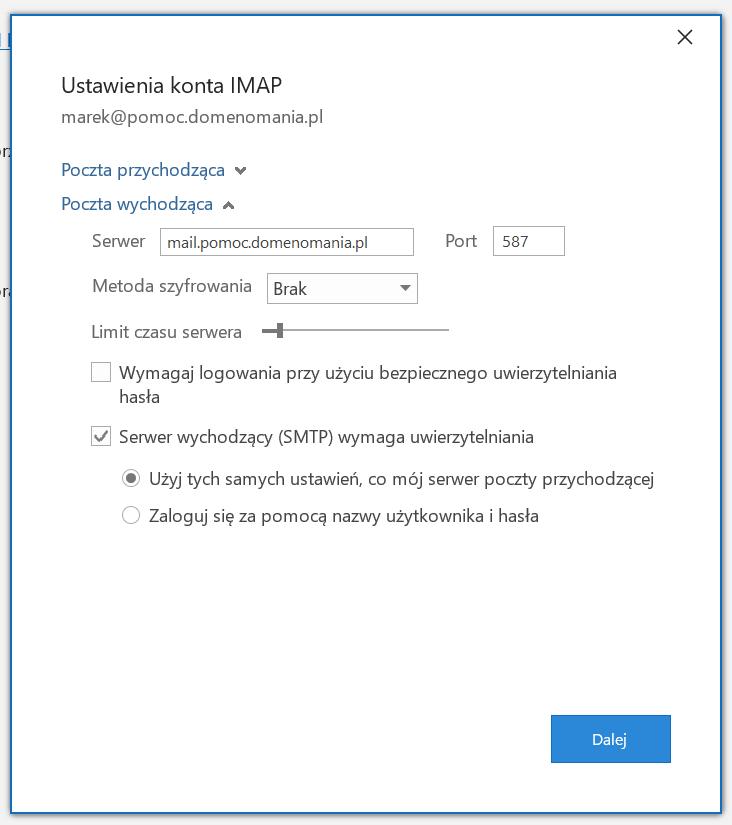 Ustawienia IMAP Microsoft Outlook bez SSL