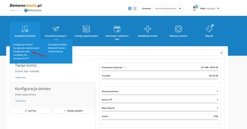 Edycja wartości TTL domeny w panelu DirectAdmin