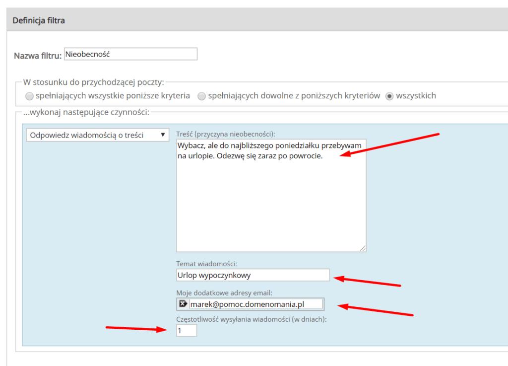 Konfiguracja automatycznych odpowiedzi w aplikacji Webmail