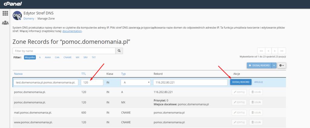 W cPanelu ustal wartość TTL i inne wartości rekordu i kliknij Dodaj rekord