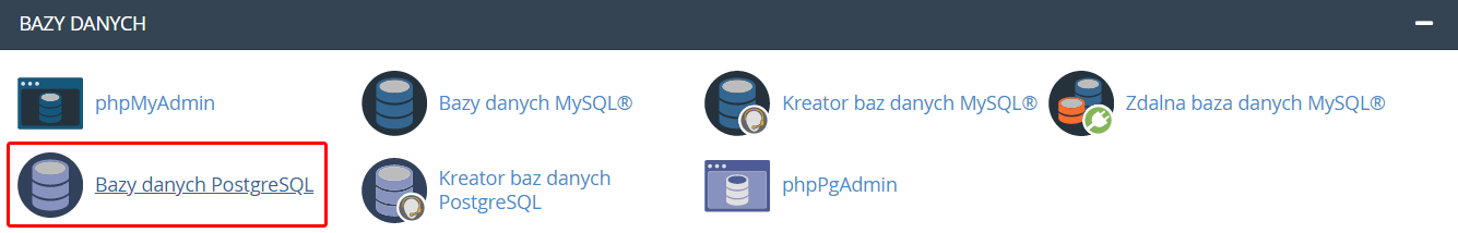 Aby dodać bazę danych PgSQL, znajdź sekcję: Bazy danych i kliknij: Bazy danych PostgreSQL.
