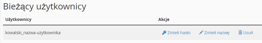Aby zmienić hasło lub nazwę użytkownika bazy danych, znajdź sekcję: Bieżący użytkownicy.