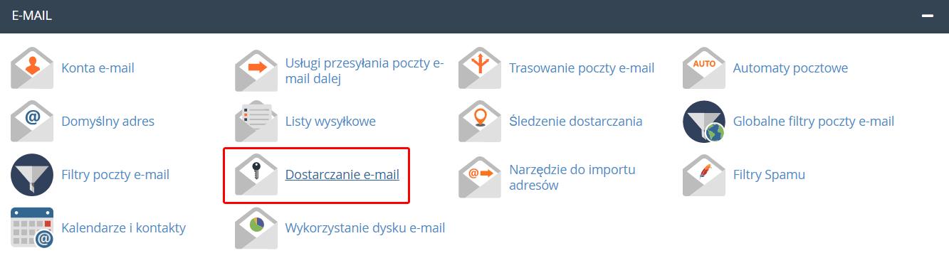 W cPanelu w sekcji: E-mail przejdź do opcji: Dostarczanie e-mail.