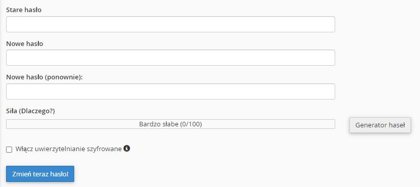 Wpisz obecne hasło dostępu oraz wprowadź dwa raz nowe hasło, aby zmienić hasło dostępu.