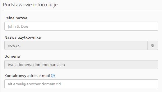 Edycja informacji podstawowych przy użytkowniku w cPanel