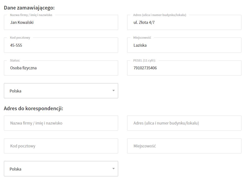 W sekcji: Dane zamawiającego możesz zmienić dane dla konta w Domenomania.pl