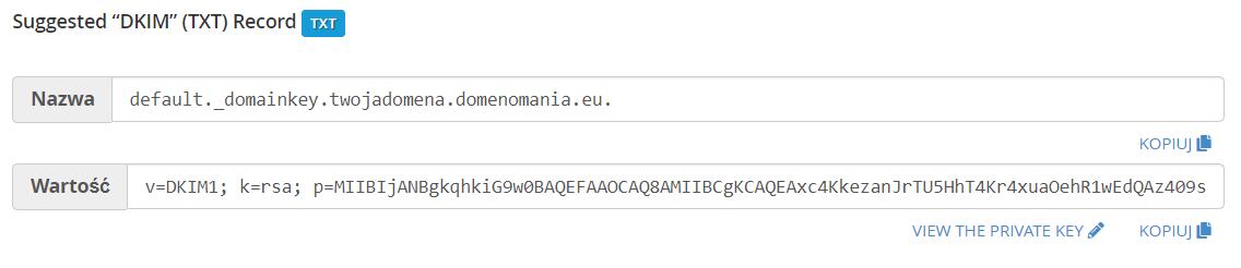 Przykład jak powinien wyglądać rekord TXT, aby dodać DKIM przy domenie.