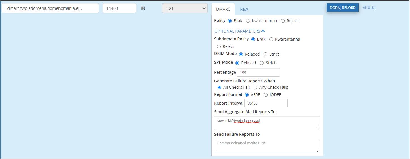 Uzupełnij formularz dodawania rekordu DMARC w cPanelu