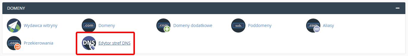 Aby dodać rekord DMARC, kliknij Edytor stref DNS w cPanel