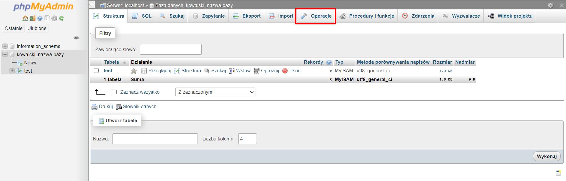 Kliknij zakładkę Operacje w phpmyadmin