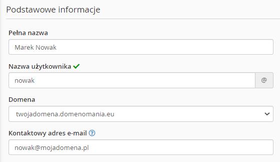 Aby dodać nowego użytkownika w cPanel, uzupełnij podstawowe informacje o użytkowniku