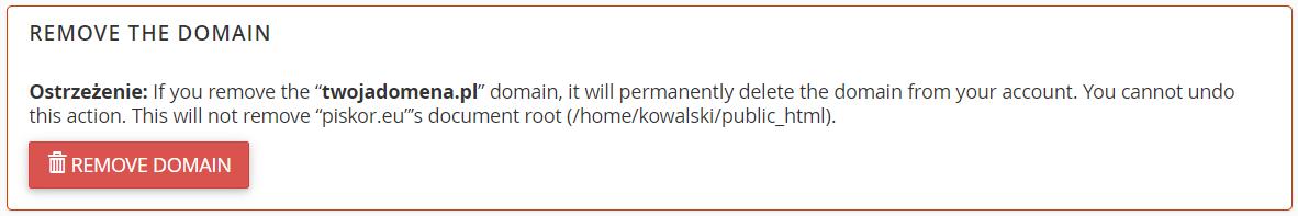 Znajdź sekcję: Remove the domain i kliknij przycisk: Remove domain.