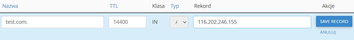 Wprowadź zmiany w rekordzie domeny i kliknij przycisk: Save Record, aby zapisać zmiany.