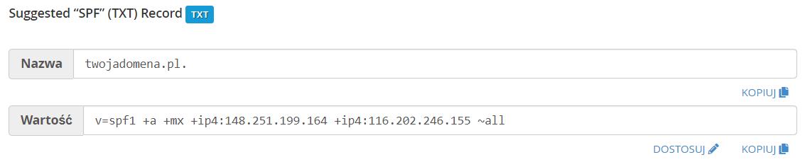 Sugerowana wartość dla rekordu SPF wyświetlana w cPanel.