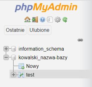 Wybierz tabelę bazy danych w phpmyadmin