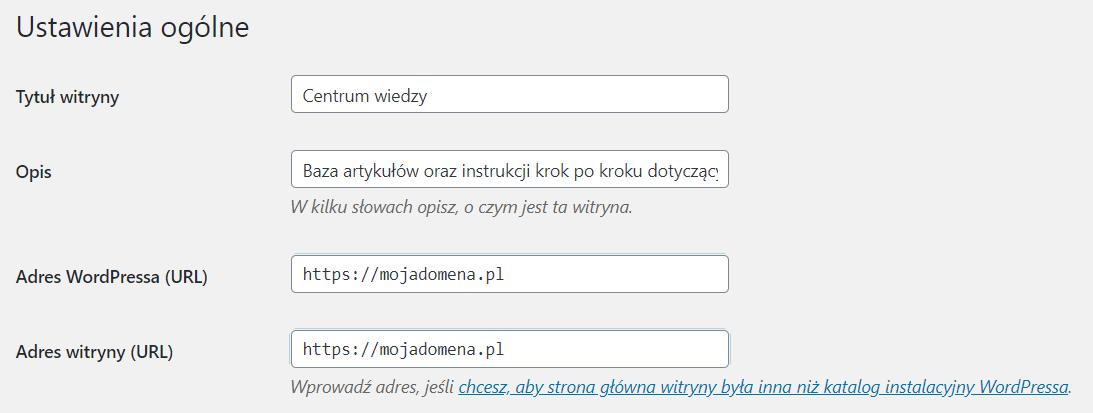 Jak zmienić adres URL dla WordPress?
