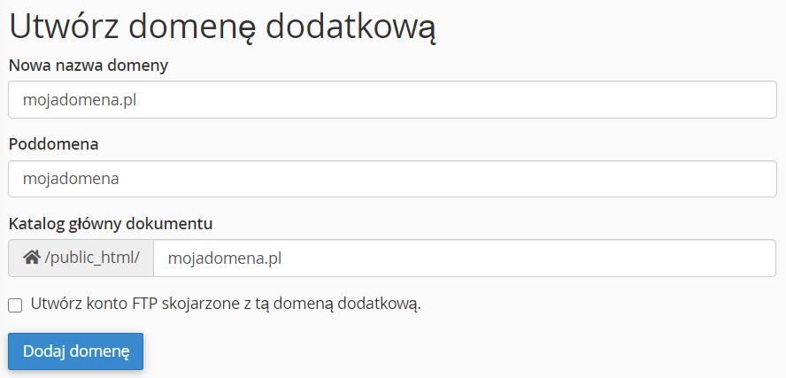 W formularzu wpisz nazwę domeny dodatkowej.