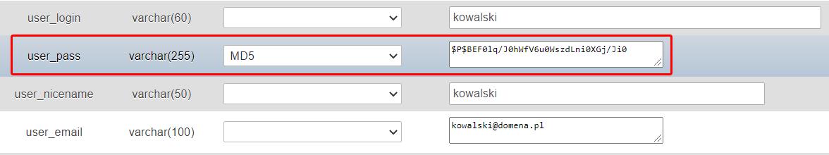 W polu user_pass wybierz kodowanie MD5 i w polu obok wpisz nowe hasło dla użytkownika.