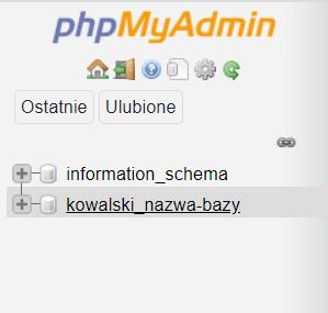 Kliknij nazwę bazy danych, która znajduje się po lewej stronie phpMyAdmin