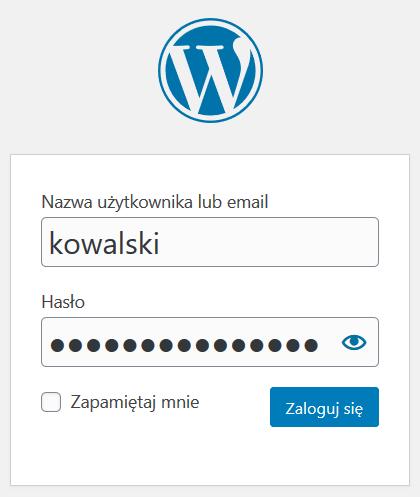 Wyloguj się z WordPress i zaloguj ponownie do nowego konta