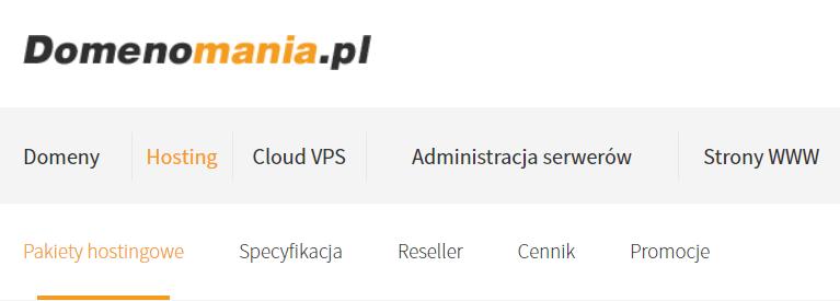 Aby zamówić hosting, kliknij opcję menu: Hosting - Pakiety hostingowe