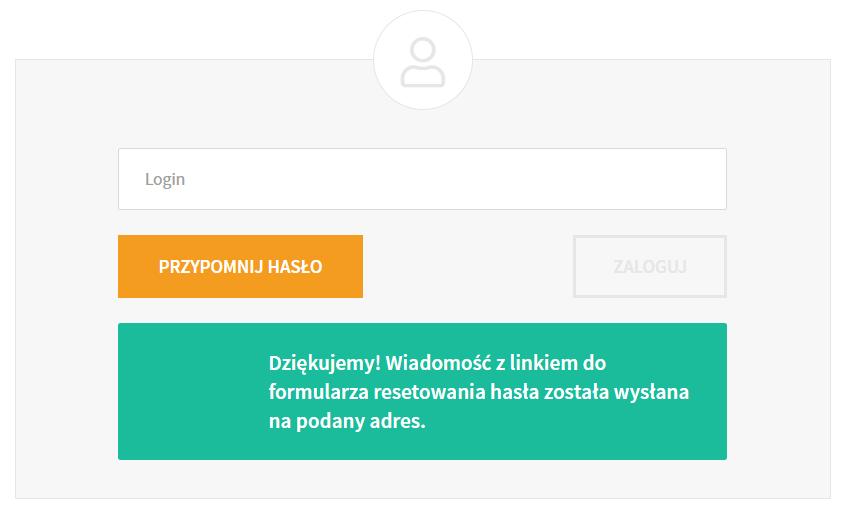 Wpisz login i kliknij przycisk: Przypomnij hasło, aby wysłać wiadomość umożliwiającą zmianę hasła
