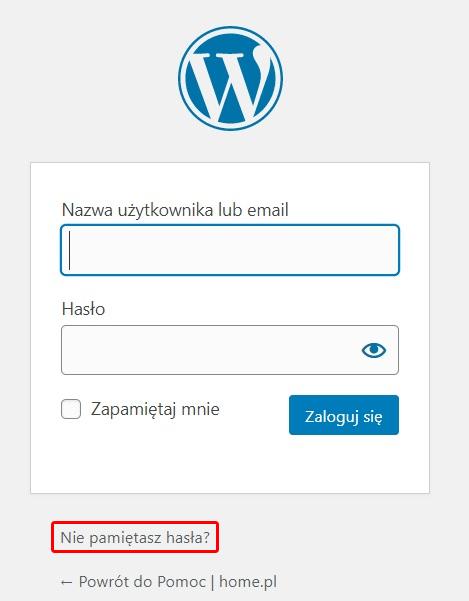 Na formularzu logowania kliknij opcję: Nie pamiętasz hasła?, aby przejść do zmiany hasła dostępu.