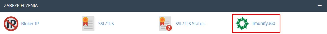 Po zalogowaniu do cPanelu znajdź sekcję: Zabezpieczenia i kliknij Imunify360.
