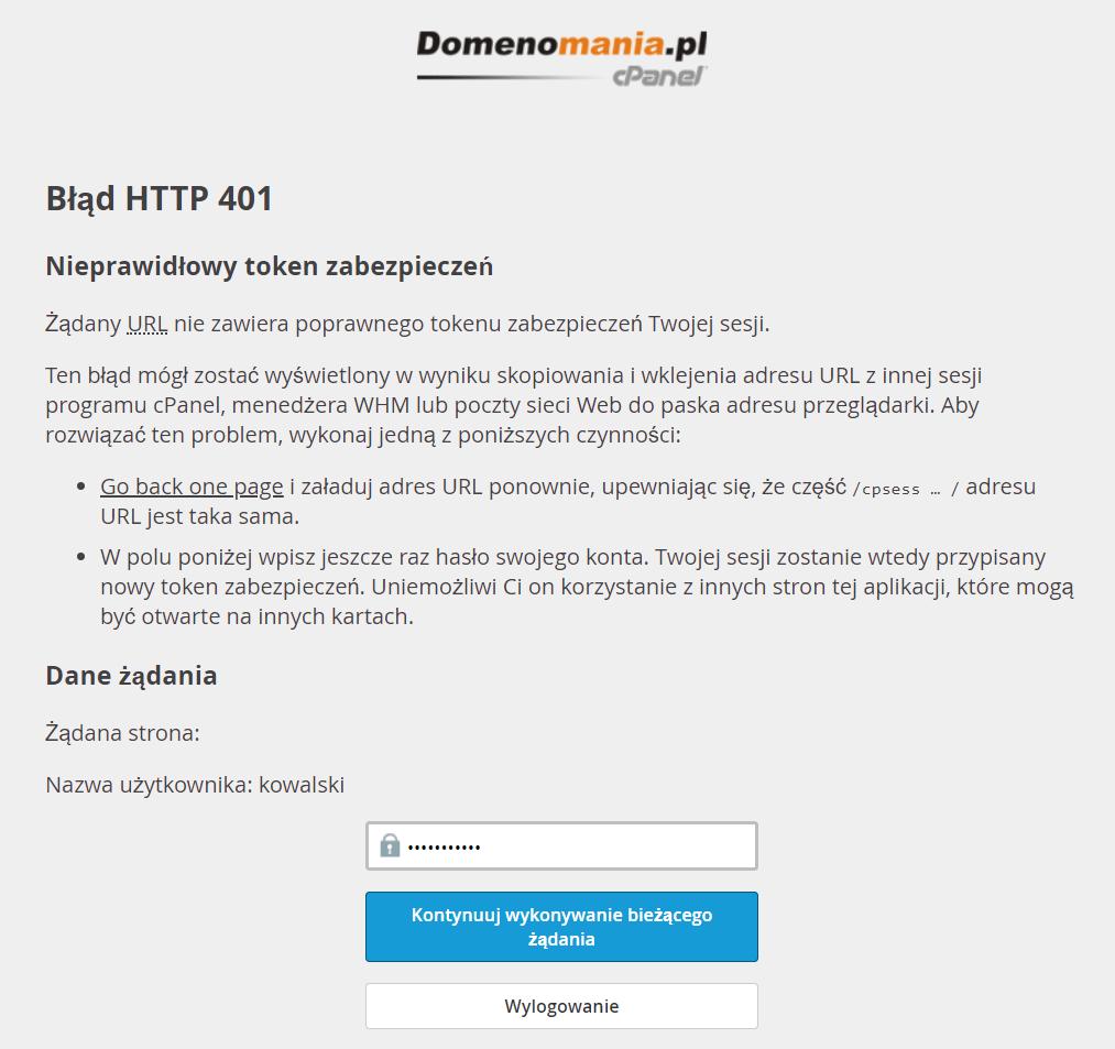 Błąd HTTP 401 – token zabezpieczeń w cPanel