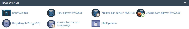 sekcja: Bazy danych po zalogowaniu do cPanel