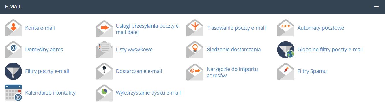 sekcja: E-mail po zalogowaniu do cPanel