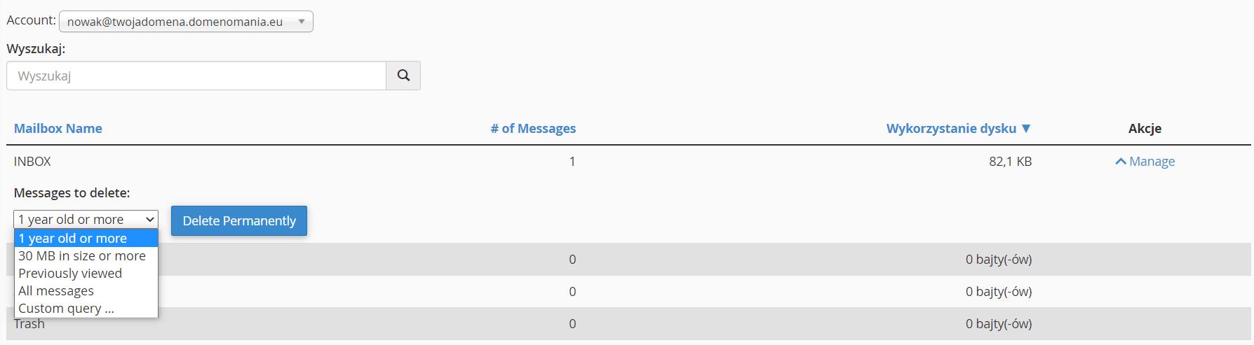 Ekran opróżniania skrzynki e-mail w cPanel
