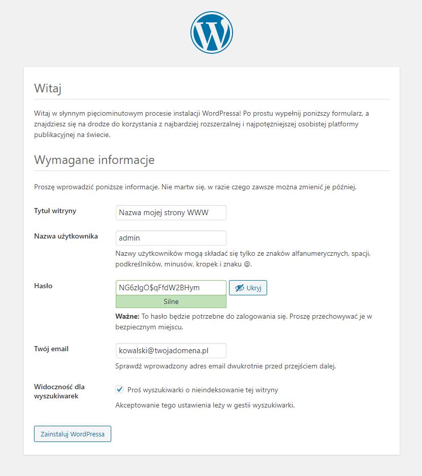 Uzupełnij w formularzu wymagane informacje, które są niezbędne do uruchomienia WordPress.