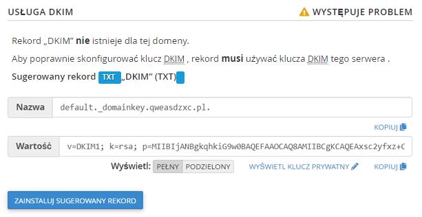 Sugerowana wartość DKIM dla domeny w cPanel